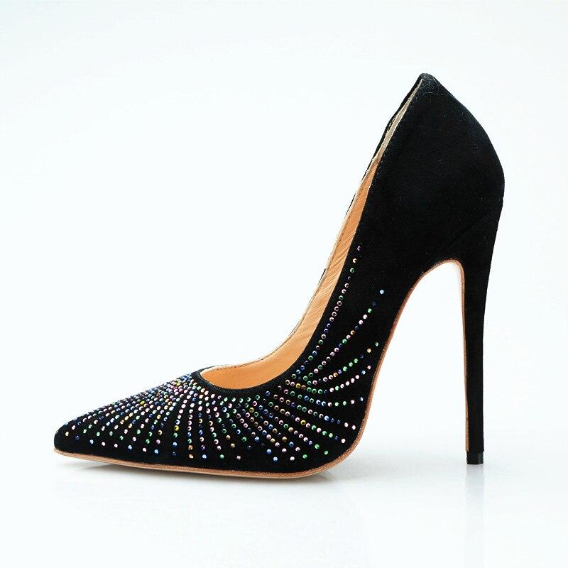 100% prawdziwe zdjęcia wysokie obcasy kobiety wiosna jesień buty eleganckie kryształowe szpilki panie pompy czarne zamszowe sukienka na imprezę buty 2019 w Buty damskie na słupku od Buty na  Grupa 1