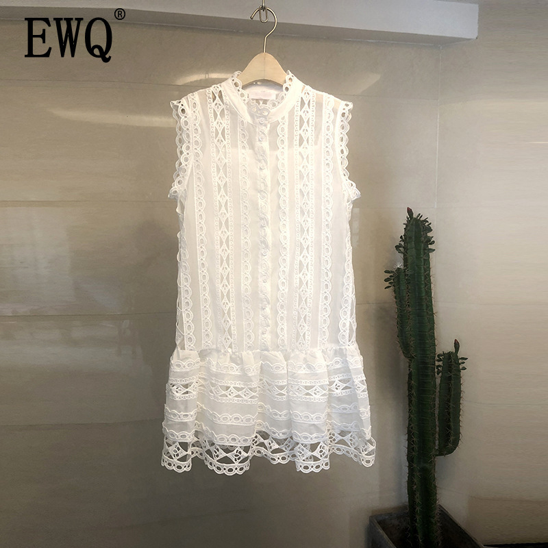 EWQ 2019 Spring Summer New Pattern Round Collar Sleeveless Lace Patchwork Hollow Out Pullovers Vintage