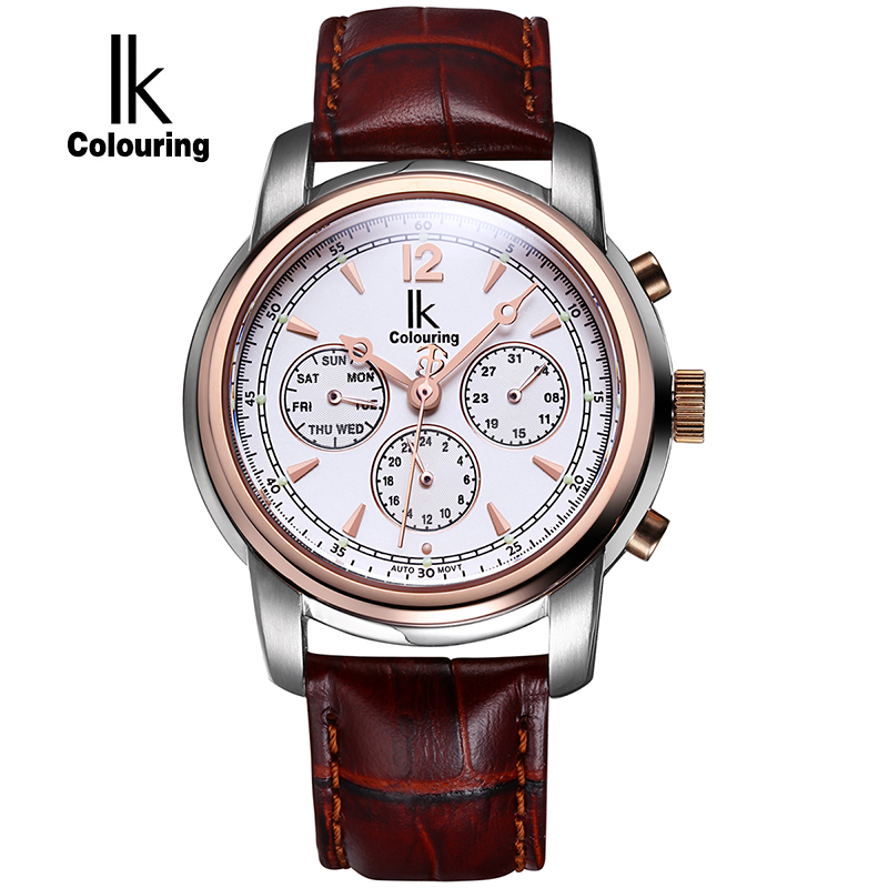 IK Colouring Sapphire Mirror Automatic Self Wind Watch Sub Dial Hollow Back Cover Full Steel Waterproof Fashion Casual Men Watch k colouring women ladies automatic self wind watch hollow skeleton mechanical wristwatch for gift box