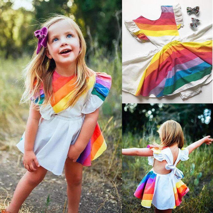 Ambizioso Di Modo Arcobaleno Bambini Del Bambino Della Ragazza Del Pagliaccetto Vestito A Strisce Del Vestito Del Manicotto Dell'increspatura Del Partito Vestiti Del Pagliaccetto