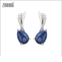 New Year Gift Fashion style 14K gold jewelry blue sapphire diamond Oval Clip earrings