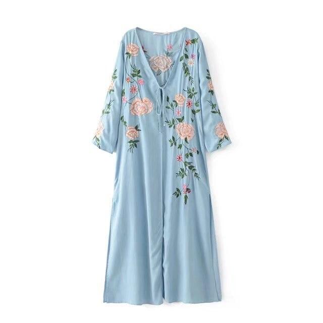 Sexy Denim Tiefe Cardigan In V 0blumenstickerei Kimono Maxi Blumenstickerei Kleid Langarm Vestido Hellblau Langes Us28 Split HEDYIW2e9