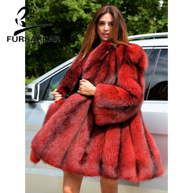 FURSARCAR Luxury Parka Real Natural Fox Fur Women Coat Long Turn down Collar Winter Coat For Female 2019 New Red Color Plus Size in Real Fur from Women 39 s Clothing