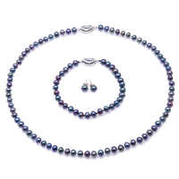 JYX 6.0-7.0mm Pearl Necklace Set peacock Blue Round Cultured Freshwater Pearl Necklace Bracelet and Earrings Set Wedding Jewelry