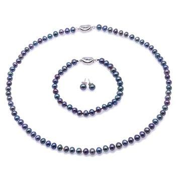 JYX 6,0-7,0mm Perle Halskette Set pfau Blau Runde Züchteten Süßwasser Perle Halskette Armband und Ohrringe Set Hochzeit schmuck