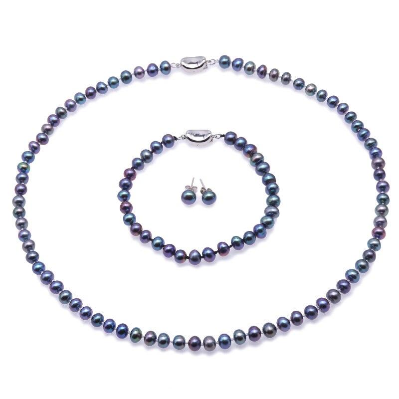 Edler Schmuck Schmucksets Jyx 6,0-7,0mm Perle Halskette Set Pfau Blau Runde Züchteten Süßwasser Perle Halskette Armband Und Ohrringe Set Hochzeit Schmuck