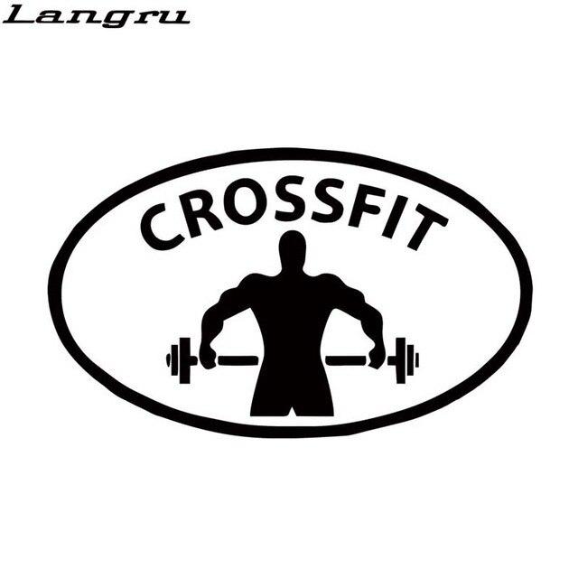 Langru car sticker crossfit training weight lifting sport oval symbol car styling window sticker truck vinyl