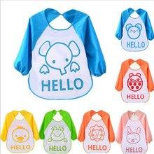 Kawaii Cartoon Baby Toddler Waterproof Bib Long Sleeve Children Lunch Feeding Towel Art Smock Bibs Apron Kids Autumn Clothing