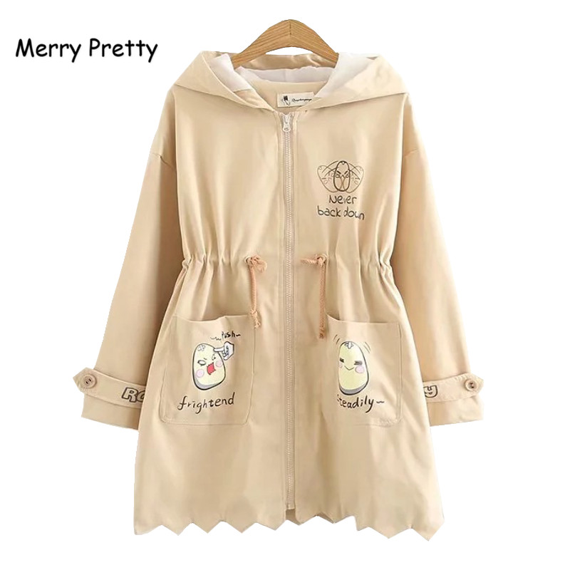 Merry Pretty Women Windbreaker Coats High Quality Crew Hem Hooded Long Outerwear Autum Winter   Trench   Casual Sweet Tops for Girl