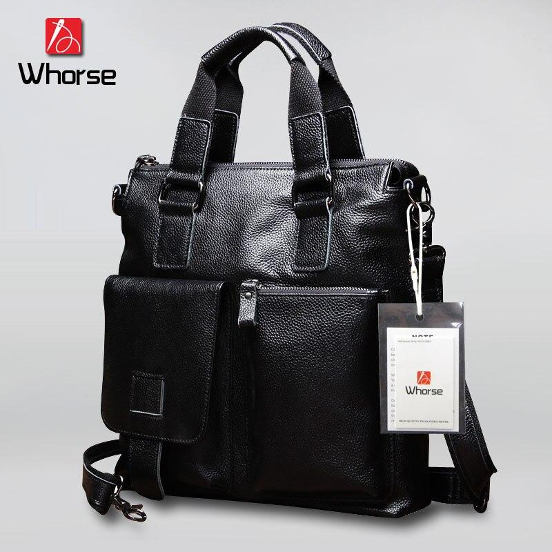 [WHORSE] Brand Genuine Leather Men's Messenger Bag Business Men Shoulder Crossbody Bags Handbag Real Cowhide Briefcase W0259