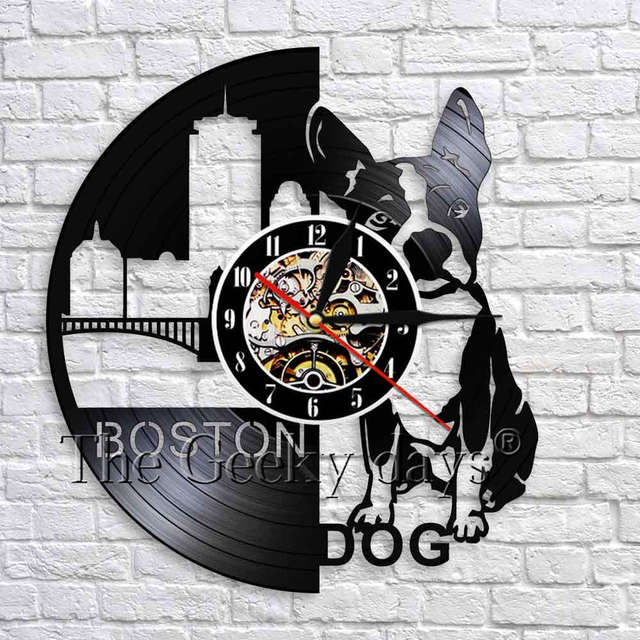 1Piece Boston Terrier Vinyl Record Wall Clock Silent Dog Unique Home Decor Wonderful Gift For Any Occasion