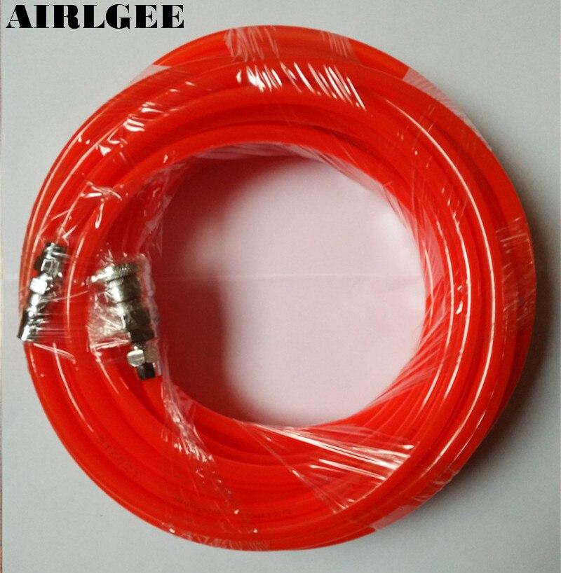 8mm x 5mm OD x ID Polyurethane PU Air Compressor Hose Tube Orange Red Bidhx 160m od id 6 4 pu air tube clear black red blue polyurethane tubing pneumatic hose pipe for air pump compressor connector