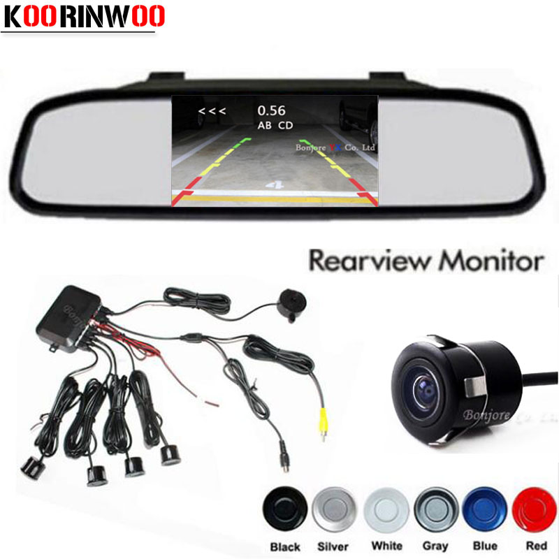 Koorinwoo Dual Core CPU 4 Parking Sensors Car Mirror Monitor TFT Reverse Rear View camera Assist Backup Radar Alarm System wireless car rear view kit 4 3 tft lcd vehicle screen monitor 170 wide degree mini reverse backup camera parking sensor 4 radar