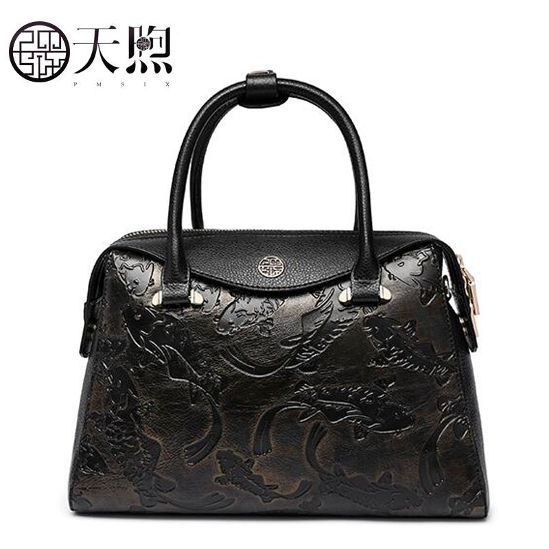 Tmsix 2018 New women Genuine Leather bags fashion Embossed tote handbags designer women bag leather handbags Crossbody bags classic black leather tote handbags embossed pu leather women bags shoulder handbags elegant
