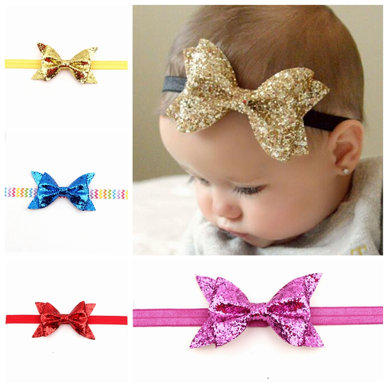 1PC Retail NEW Cute Hair Bow Baby Flower Headband Knot Elastic Hair Band Infant Children Sequin Bow Hair Accessories   Headwear