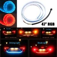 47 120CM RGB Car Rear Trunk Strip Light 12V Tailgate Dynamic Streamer Brake Driving Turn Signal