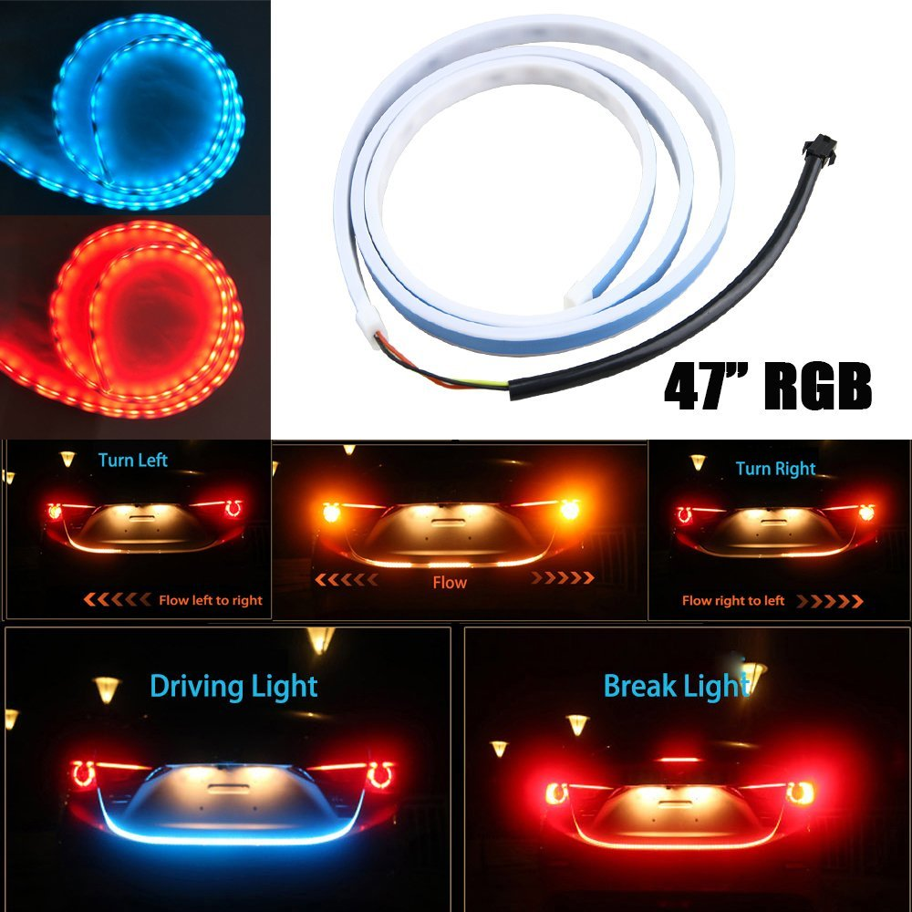 47 120CM RGB Car Rear Trunk Strip Light 12V Tailgate Dynamic Streamer Brake Driving Turn Signal Flow LED Light Lamp