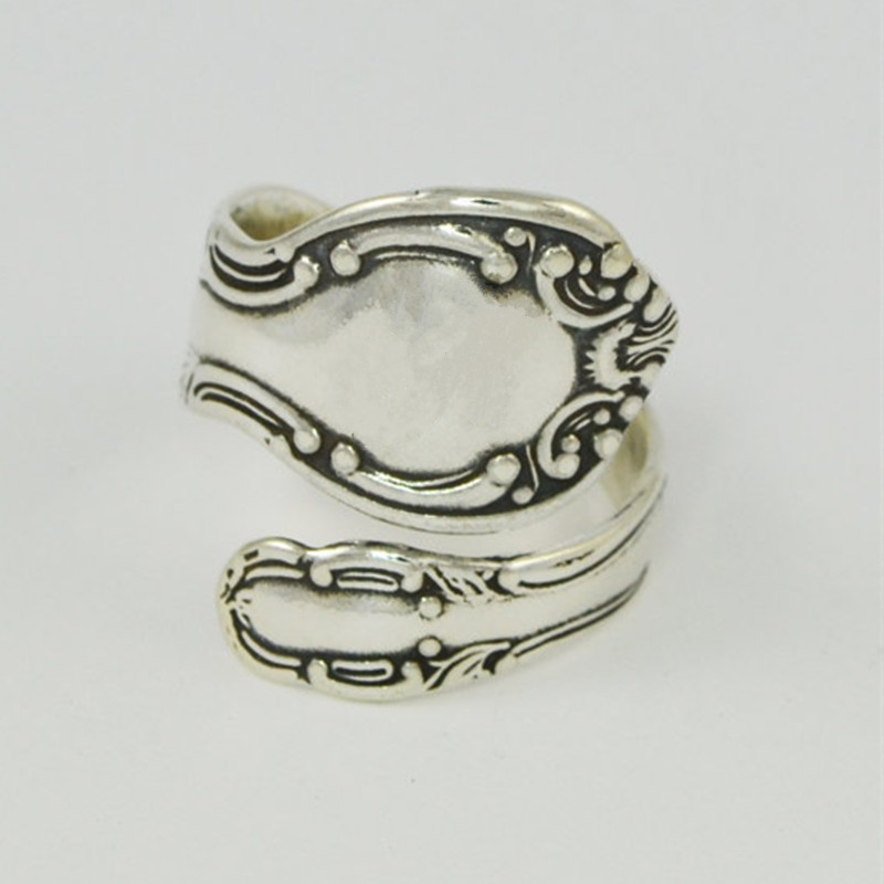 Custom Initial Plating Ancient Silver Spoon Ring The Adjustable Ring Restoring Ancient Ways