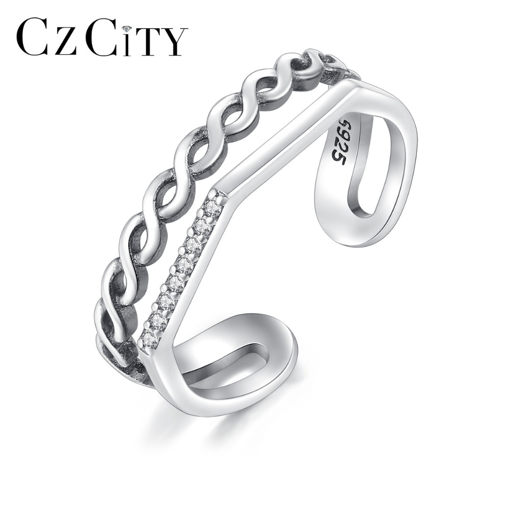 CZCITY New Multi-Style Real 925 Sterling Silver Double Circle Retro Open Rings For Women Vintage Party Rings Jewelry Bijoux Gift