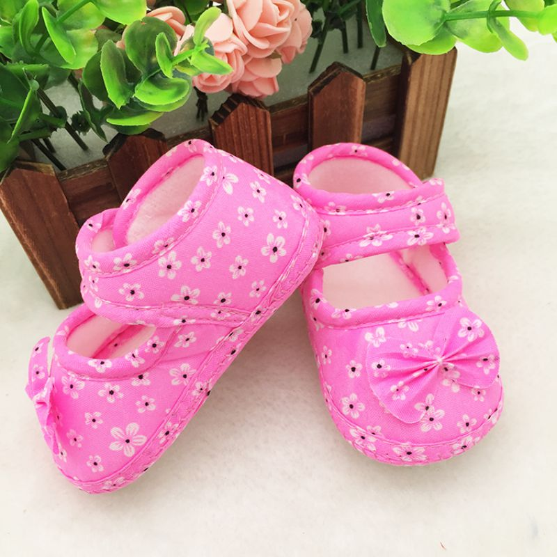 Newborn Baby Pre Walking Shoes Infant Girl Boy Bow Flower First Walker Shoes For Toddler Kids 0-18M Children