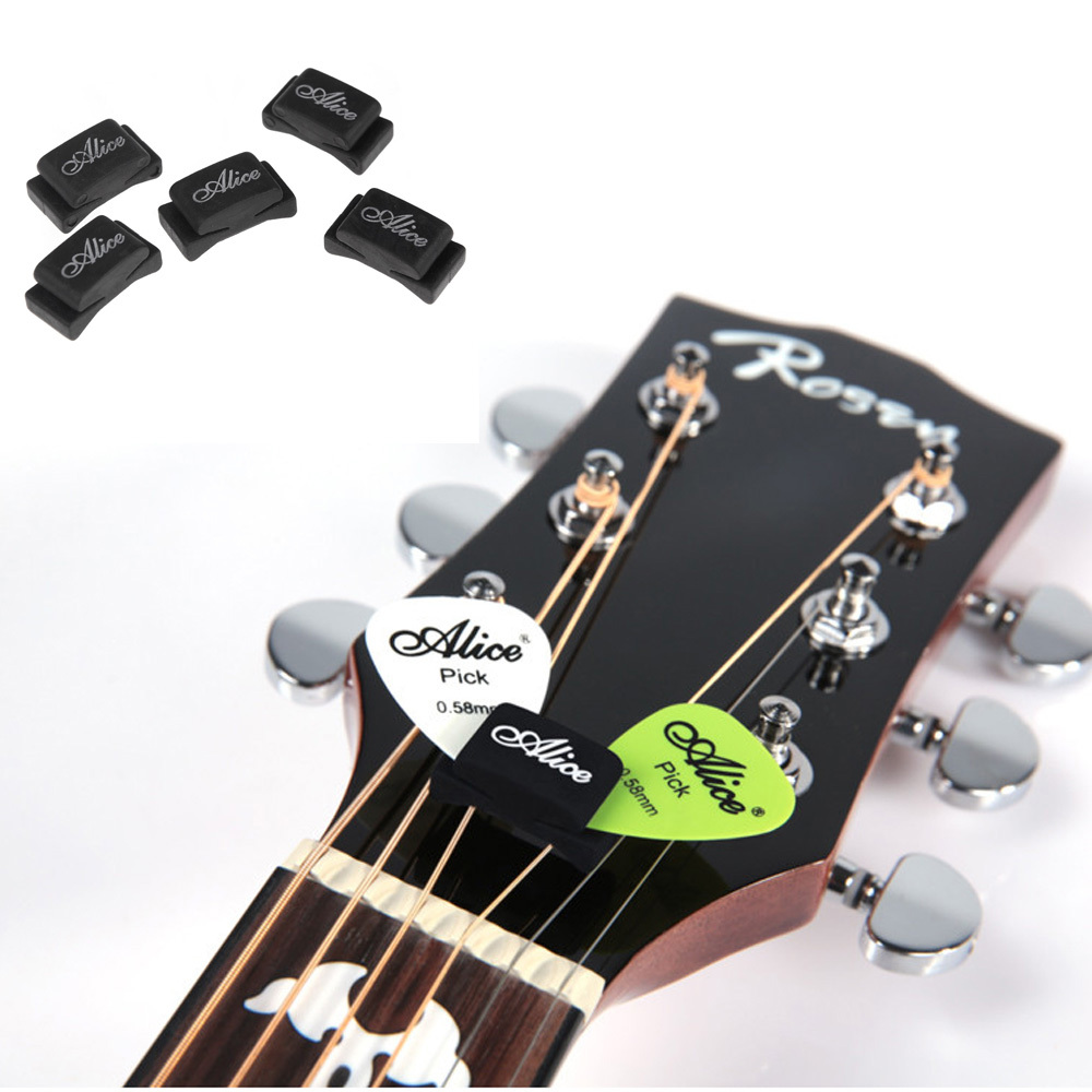 XFDZ 5pcs Black Rubber Guitar Pick Holder Fix on Headstock for Guitar Bass Ukulele Free Shipping - Alice