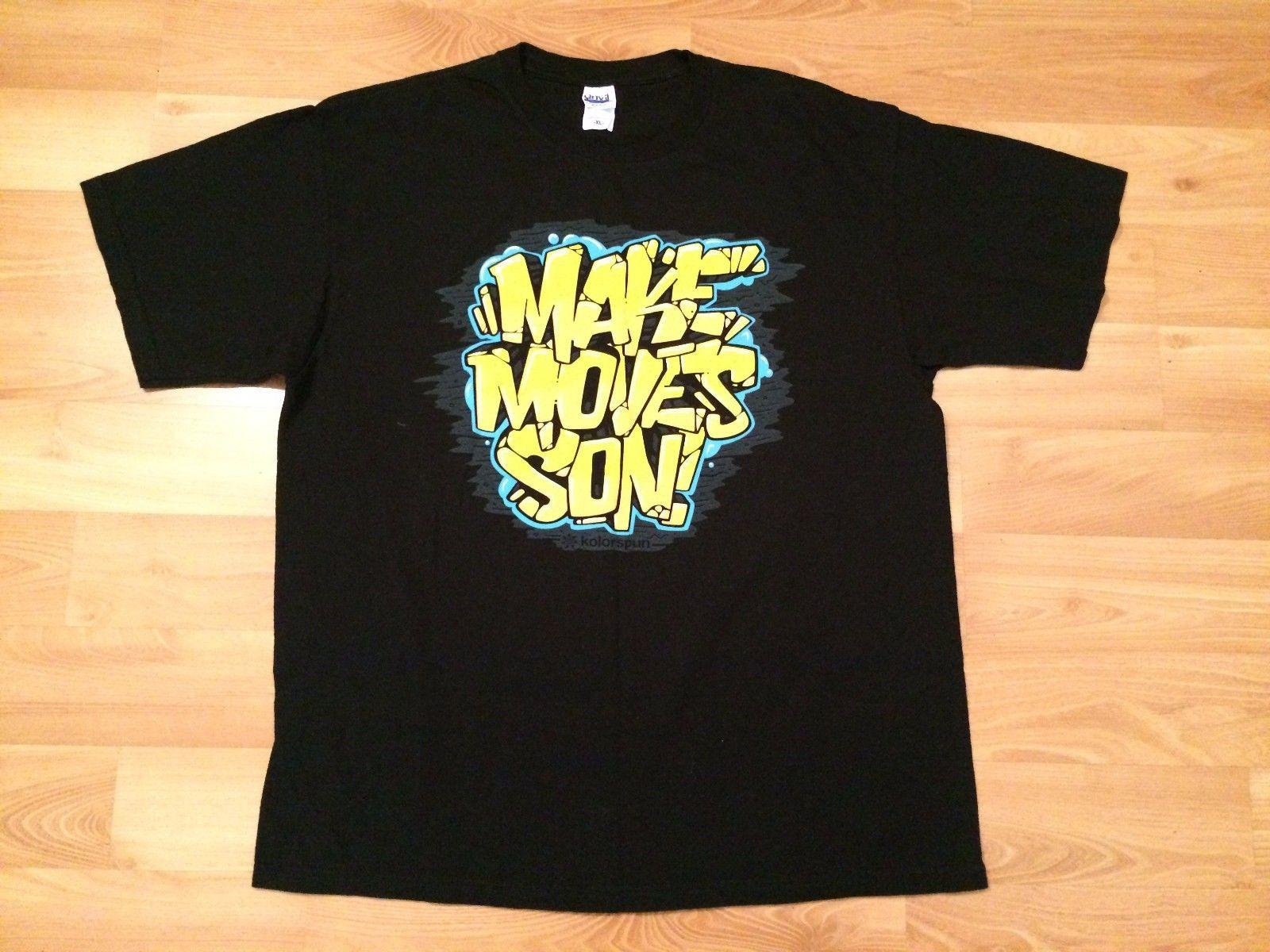 Make Moves Son Graffiti T Shirt Mens Black Gold Blue Kolorspun