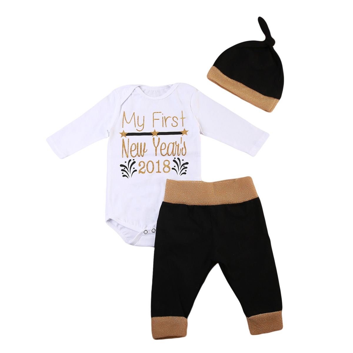 Cute Newborn Baby Boy Girls Clothes Set 2018 New Year Striped Cotton Long Sleeve Bodysuit Jumpsuit Outfit Clothes 4pcs set newborn baby clothes infant bebes short sleeve mini mama bodysuit romper headband gold heart striped leg warmer outfit