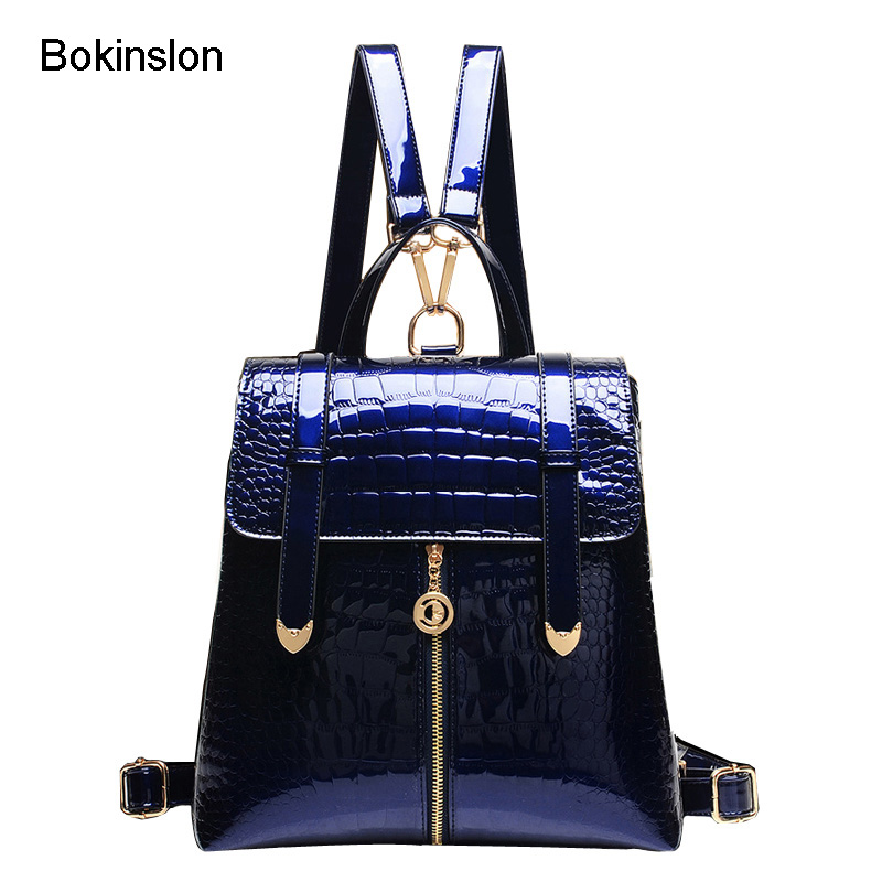 Bokinslon School Backpack Women Fashion Alligator Grain Backpack Girl Casual Vintage Patent Leather Women s Backpack