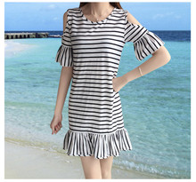 Summer clothes Women Striped Dress Cold Shoulder Lady Off shoulder ruffle Elegant Ruffles Casual For Girls