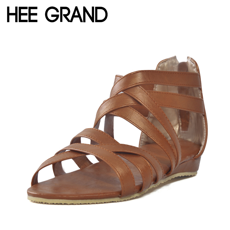 HEE GRAND Gladiator Sandals Summer Style 2017 New Flats Shoes Woman Slip On Casual Sexy Women Shoes Ladies Size 35-39 XWZ1858 women sandals 2017 summer shoes woman flips flops gladiator wedges bohemia fashion rivet platform female ladies casual shoes