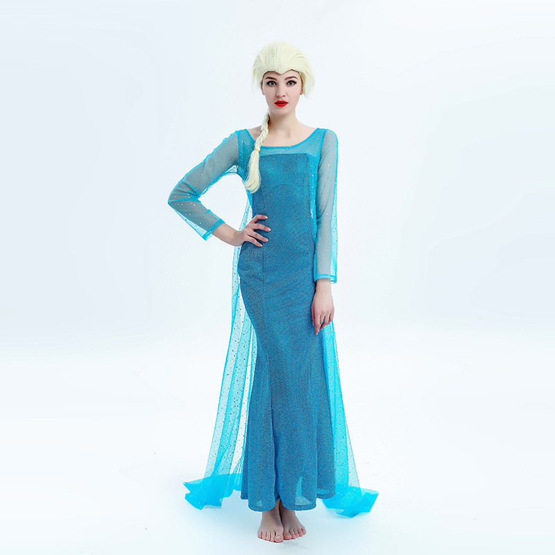 Adult Womens Ladies Sparkle Snow Queen Princess Elsa Costume Dress