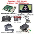 Raspberry Pi 3 Display Kit with 10.1 inch 1366*768 LCD Screen Monitor + 5V 2.5A EU/US/EU/UK Power Supply + 16GB SD Card + Case