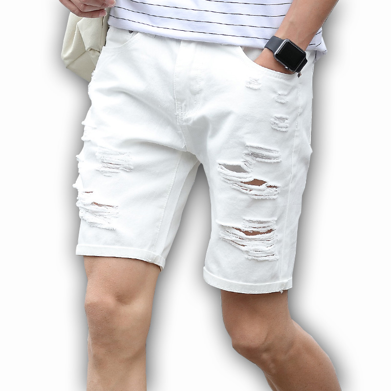 Mens Denim Shorts Slim Regular Casual Knee Length Short  Hole Jeans Shorts For Men 2019 New Summer White Blue