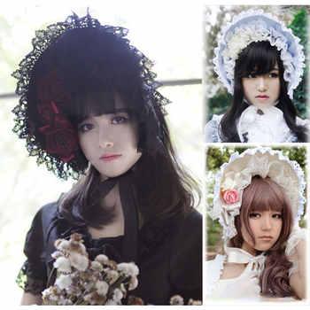 Princess Sweet Lolita Bonnet Adult Gothic Lace Bonnet Summer Sun Hat for Women - DISCOUNT ITEM  20% OFF All Category