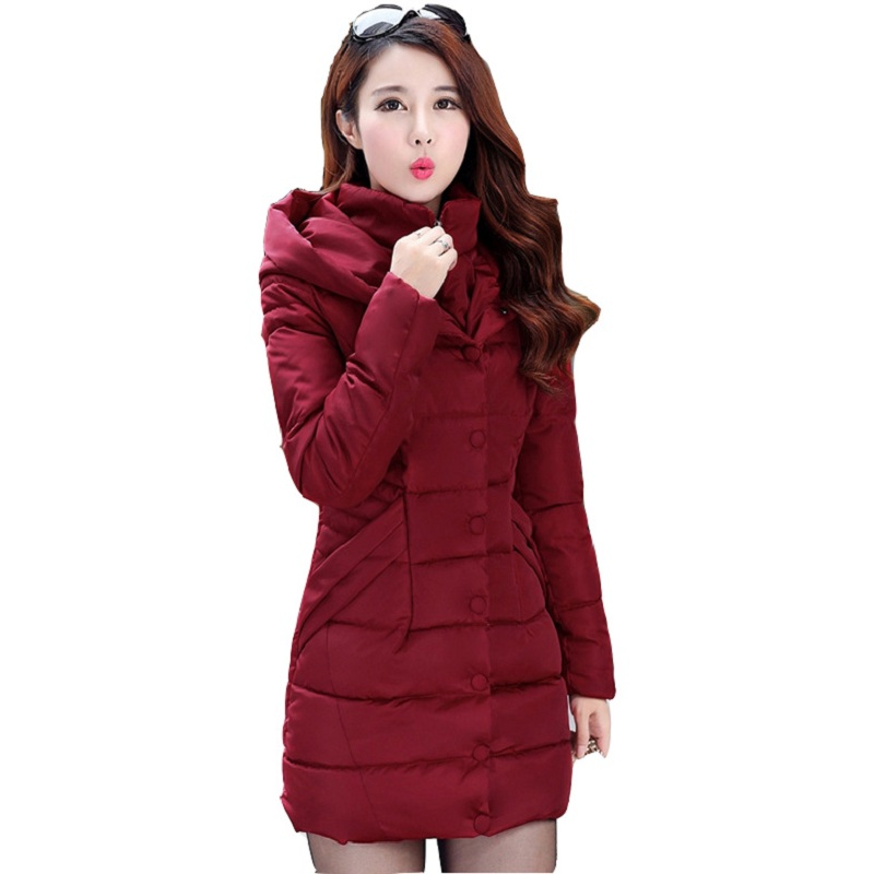 New 2017 Winter Hooded Jacket Women Cotton Overcoat Medium-long Slim Casual Fashion Parkas Plus Size XXXL Wine Red Coats CC010 2017 winter hooded jacket women cotton wadded overcoat medium long slim casual fashion parkas xxxl manteau femme coat