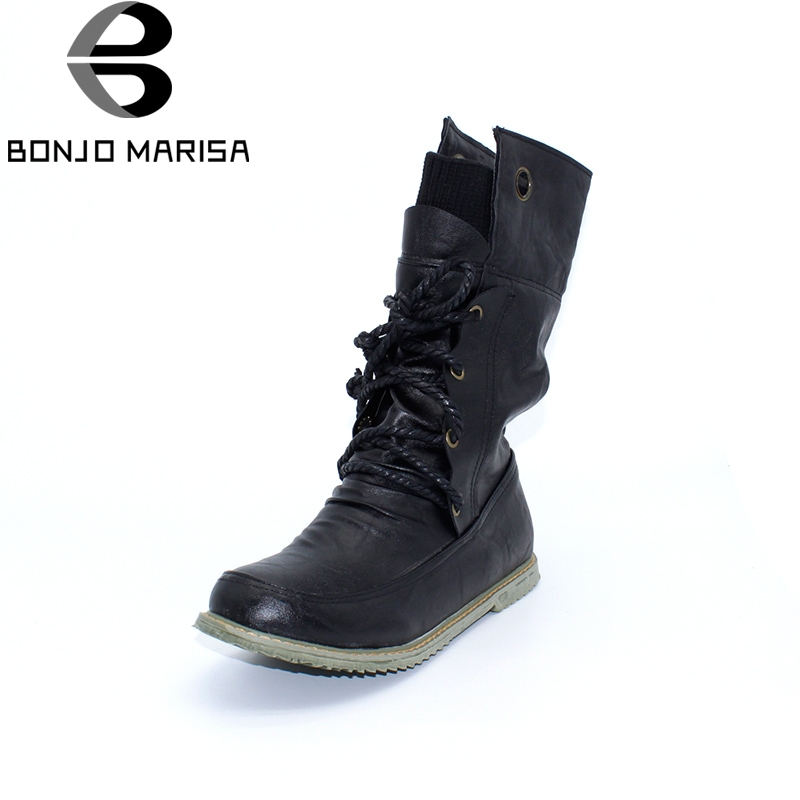 BONJOMARISA Big size 34-43 Fashion Women Boots Flat Heel Platform Shoes Keep Warm Fur Shoes Woman Mid-calf Snow Fur Boots bonjomarisa 2017 fashion summer sandles big size 32 43 cutout open toe thick heel less platform women shoes ladies footwear