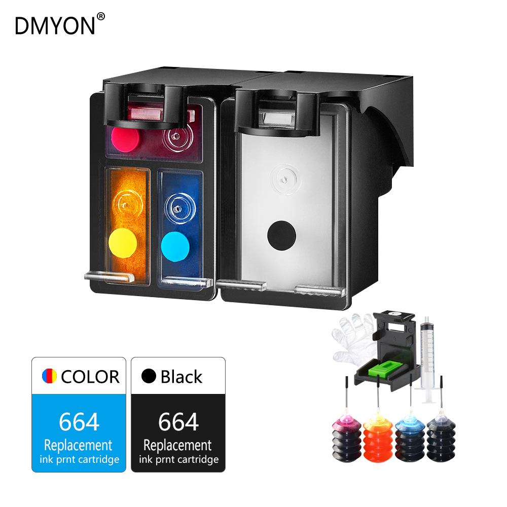 DMYON Ink 664 664XL Refillable Ink Cartridge Replacement for HP DeskJet 1115 2135 3635 1118 2138