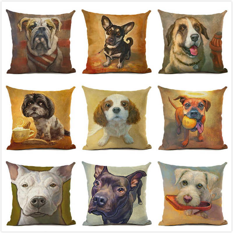 Cushion Cover 45x45cm Throw Decorative Pillows for Sofa Living Room Dog Series Office Printing Cotton Linen Pillowcases