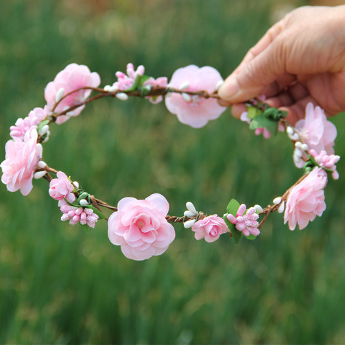 Handmade Peach Flower Crowns Hair Flower Tiara Wedding Woman Girls headband Hair Accessories Bridal Pink Flower Wreath metting joura vintage bohemian ethnic tribal flower print stone handmade elastic headband hair band design hair accessories