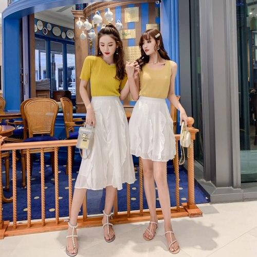 Spring Ruffle High Waist White Skirts Women Elegant Artistic Women's Skirt Casual Pleated Skirt Woman Saias Na Altura Do Joelho