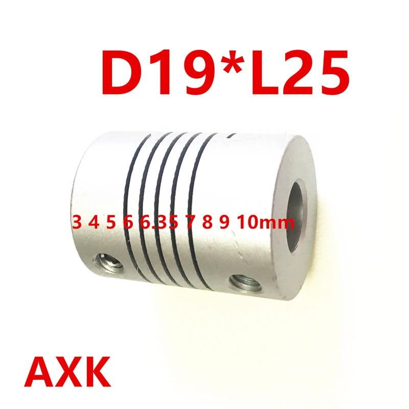 Free shipping 10pcs/lot 3 4 5 6 6.35 7 8 9 10mm D19*L25 Aluminium CNC Stepper Motor Flexible Shaft Coupling Coupler Encoders