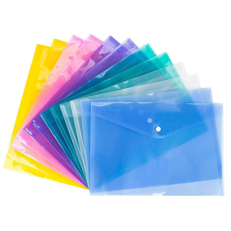 Abordable A4 Document portefeuilles en plastique popper Boucle dossiers dépôt de stockage du papier, Couleur Aléatoire 12 pcs