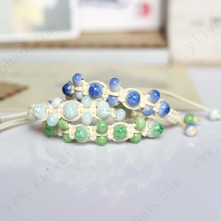 Fashion Ethnic Style Handmade Unique Women Ceramic Bracelets Beaded Braided Charm Jewelry for Women Adjustable Length