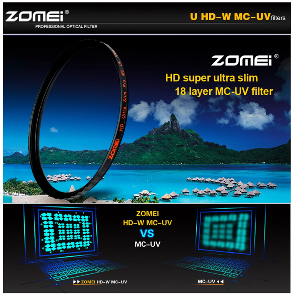 ZOMEI HD 40.5/49/52/55/58/62/67/72/77/82MM Ultra Slim 18 Layers Multi-Coated Pro MCUV Filter lens Protector цена 2017