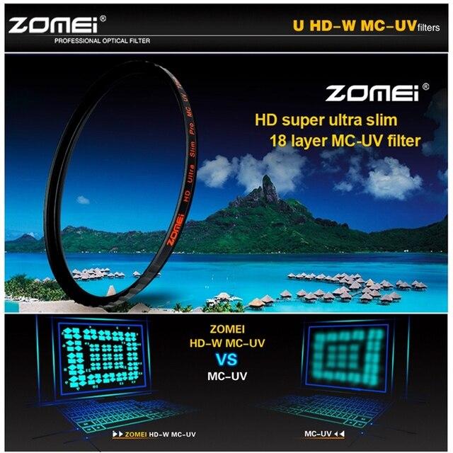 ZOMEI HD 40,5/49/52/55/58/62/67/72/77/82MM Ultra delgado 18 capas Multi recubierto Pro MCUV filtro Protector de lente