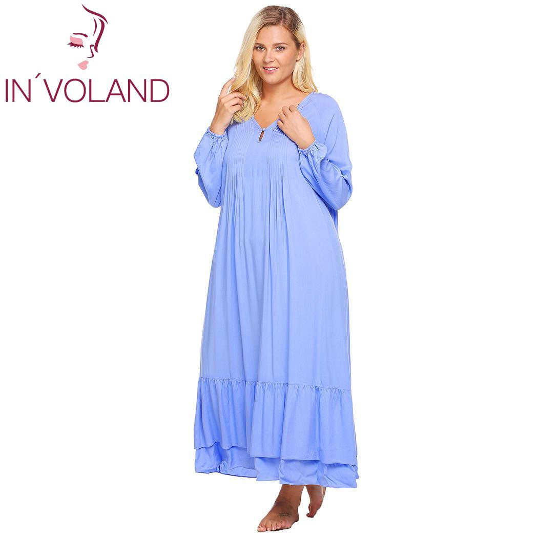 IN'VOLAND Women Sleepwear Dress Plus Size L-4XL Spring Autumn Lantern Sleeve Solid Casual Lounge Long Gown Nightgown Oversized
