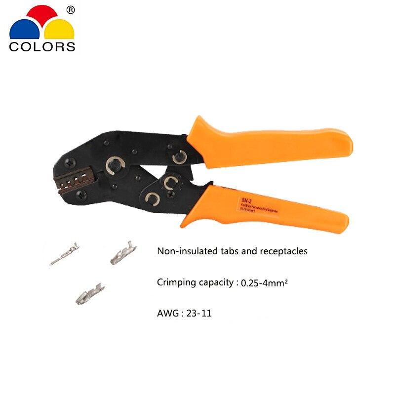 Handwerkzeuge Ratsche Crimpen Zange Für Nicht Isolierte Tabs Und Buchsen Crimpen Kapazität 0,25-4.0mm2 Awg 23-11 Mini Hand Werkzeug Sn-2 Farben