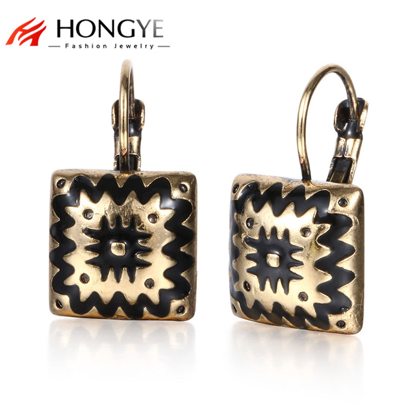 Vintage Silver Gold-Color Blue Black Enameling Charms Square Clip en Stud Earrings para Mujeres Chica 2 colores Joyería étnica