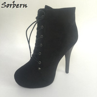 Sorbern Ankle High Boots Women Thin High Heels Platform Short Plush Lace Up Black Booties Winter Shoes Custom Color Big Size 43