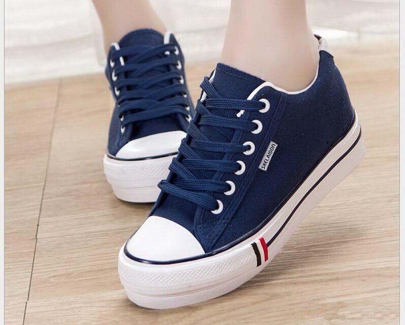 2017 Primavera/verano Mujer Zapatos de Plataforma Alta Zapatos de Lona atan para